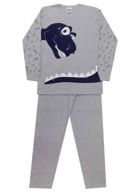 e385524284edb6 Pijama Manga Longa Infantil/Juvenil Mescla Dinossauro - Bicho Bagunça